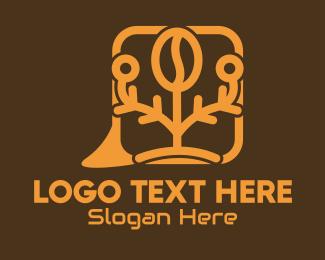 Tree - Coffee Bean Message Bubble logo design