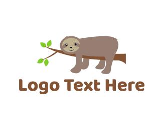Slow - Lazy Sloth logo design