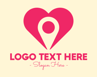 Gps Pin - Pink Heart GPS logo design