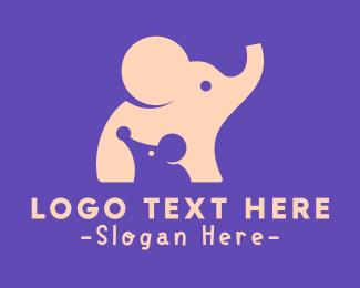 Child Daycare - Cute Elephant & Mouse logo design