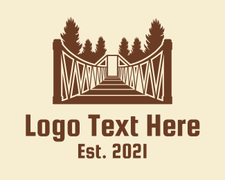 Camping Ground - Forest Hanging Bridge logo design
