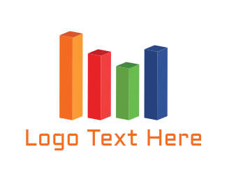 Statistic - Colorful Bar Chart logo design