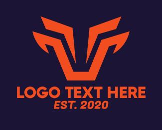 Digital Printing - Orange Tech Bull logo design