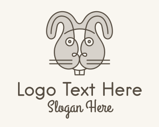 Rabbit Head - Gray Rabbit Head  logo design