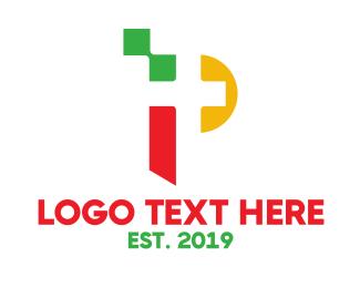 Alpahbet - Colorful Pixel P logo design