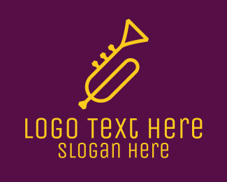 Trumpet Player - Yellow Minimalist Trumpet logo design