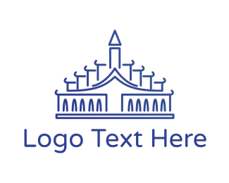 Temple - Blue Palace Outline logo design
