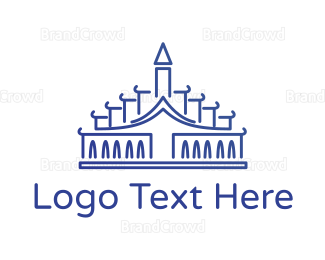 Taiwan - Blue Palace Outline logo design