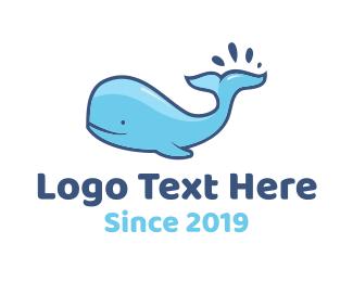 Cartoon - Blue Whale logo design