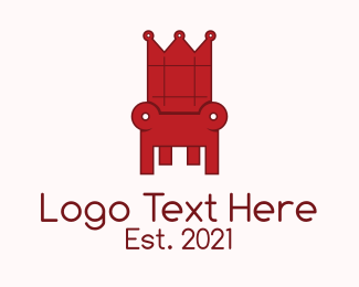 Couch - Red Throne Chair logo design