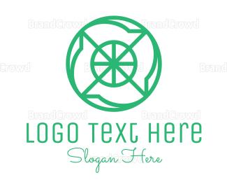 Blade - Green Cross Hair Monogram logo design