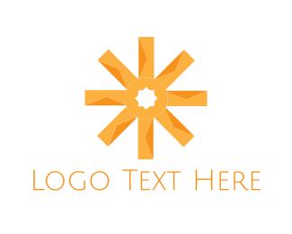 Snowflake - Orange Asterisk logo design