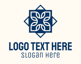 Restaurant - Blue Floral Tile Centerpiece logo design