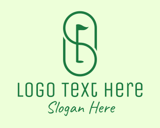 Golf Hole - Green Golf Course Letter S logo design