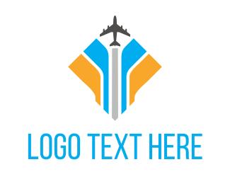 Plane Blue Yellow Logo
