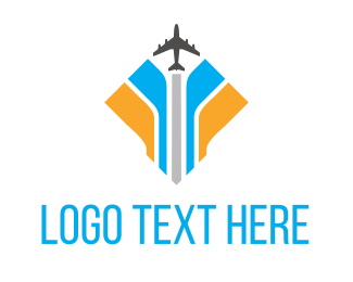 Plane Blue Yellow Logo