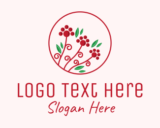 Mistletoe - Christmas Holly Plant logo design