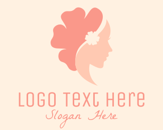 Wig Maker - Flower Woman Profile logo design