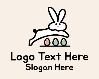 Blue Rabbit - Egg Bunny Leap logo design