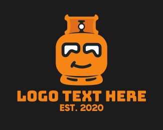 Flammable - Orange Gas Tank Mascot logo design