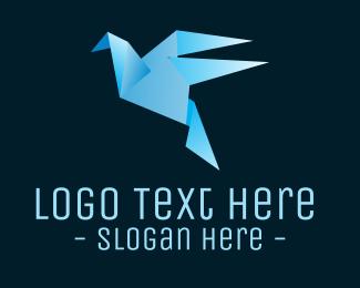 Blue Bird - Origami Blue Bird logo design