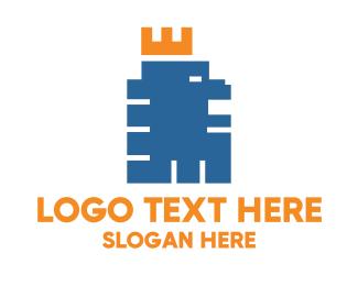 Blue Lion - Pixel Lion logo design