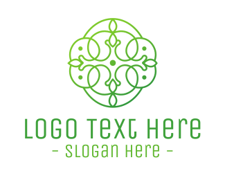 Preservation - Green Floral Cross logo design