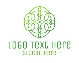 Detailed - Green Floral Cross logo design