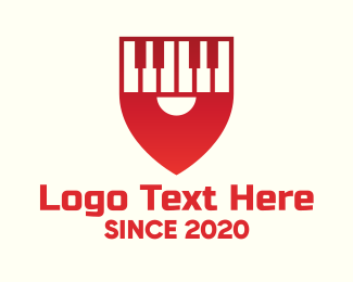 Harpsichord - Red Piano Location Pin logo design