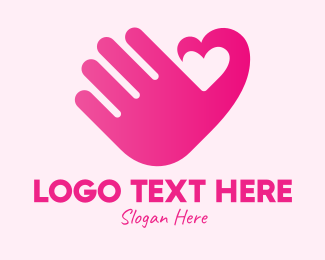 Online Dating - Pink Heart Hand logo design