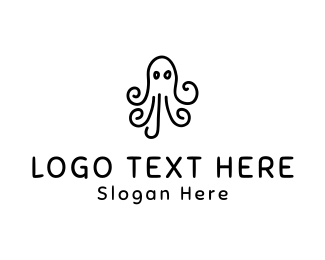 Squid - Octopus Drawing logo design