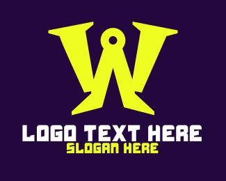 Masonry - Blue Letter W Technology logo design
