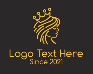 Beauty Queen - Minimalist Royal Princess logo design