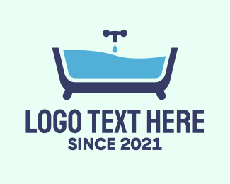 Sanitary - Blue Bathtub Bath logo design