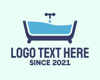 Bath - Blue Bathtub logo design