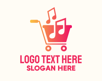 Music Licensing - Musical Notes Cart logo design