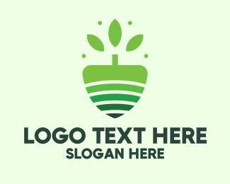 Shovel - Organic Farm Tree logo design
