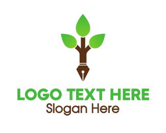 Tree - Pen Tree logo design