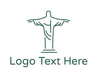 Catholic - Christ Statue Outline logo design