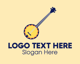 String Instrument - Sunny Banjo Player Music School logo design