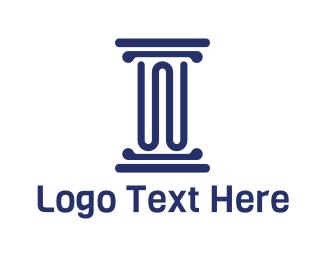 Court House - Blue Pillar Letter W logo design