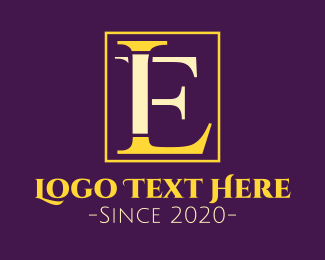 Serif - L & E logo design