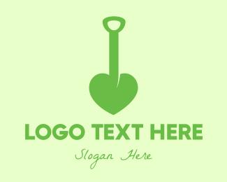Dig - Green Shovel Heart logo design