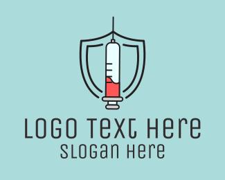 Shield - Syringe Vaccine Injection  logo design
