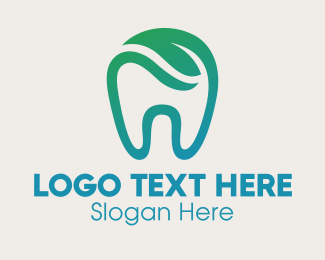 Braces - Dental Green Leaf Tooth Dentist logo design
