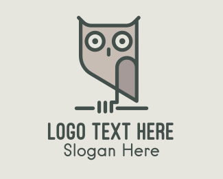 Bird Of Prey - Grey Night Owl  logo design
