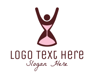 App - Hourglass & Woman logo design