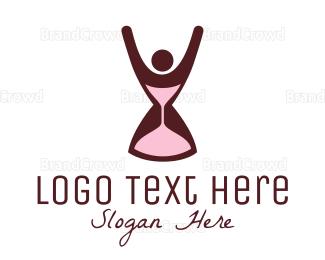 Woman - Hourglass & Woman logo design