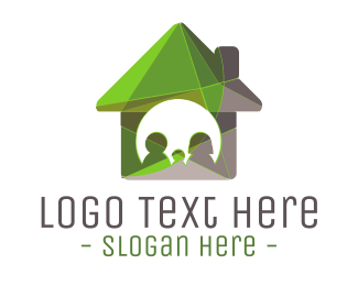 House - Green House logo design