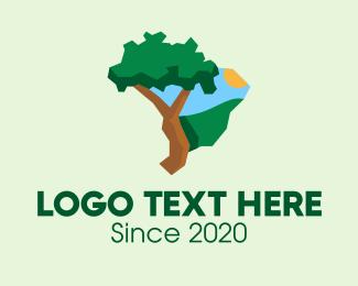 Grassland - Brazilian Nature Map  logo design